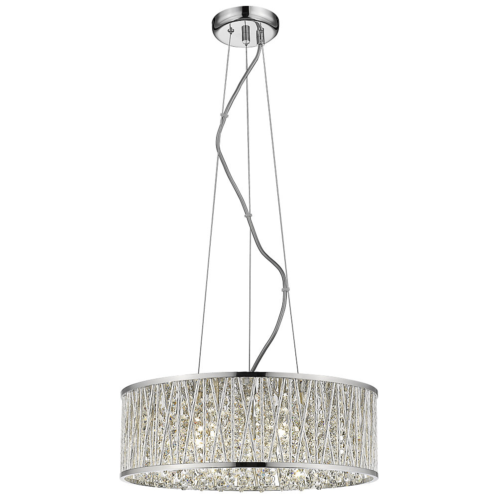 Saynsberry 5-Light 40W Polished Chrome Drum Shape Pendant with Crystal Bead Accented Shade