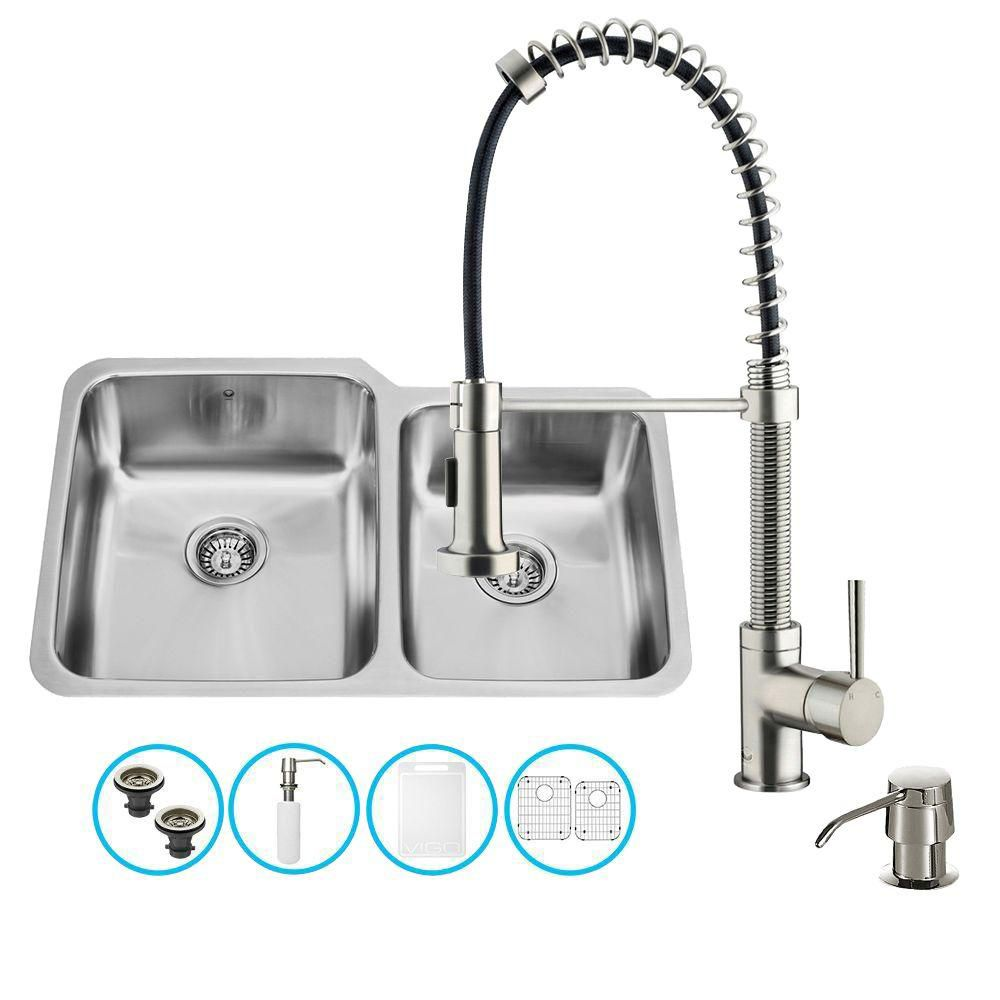 Stainless Steel All in One Undermount Kitchen Sink and Faucet Set 32 Inch VG15309 in Canada