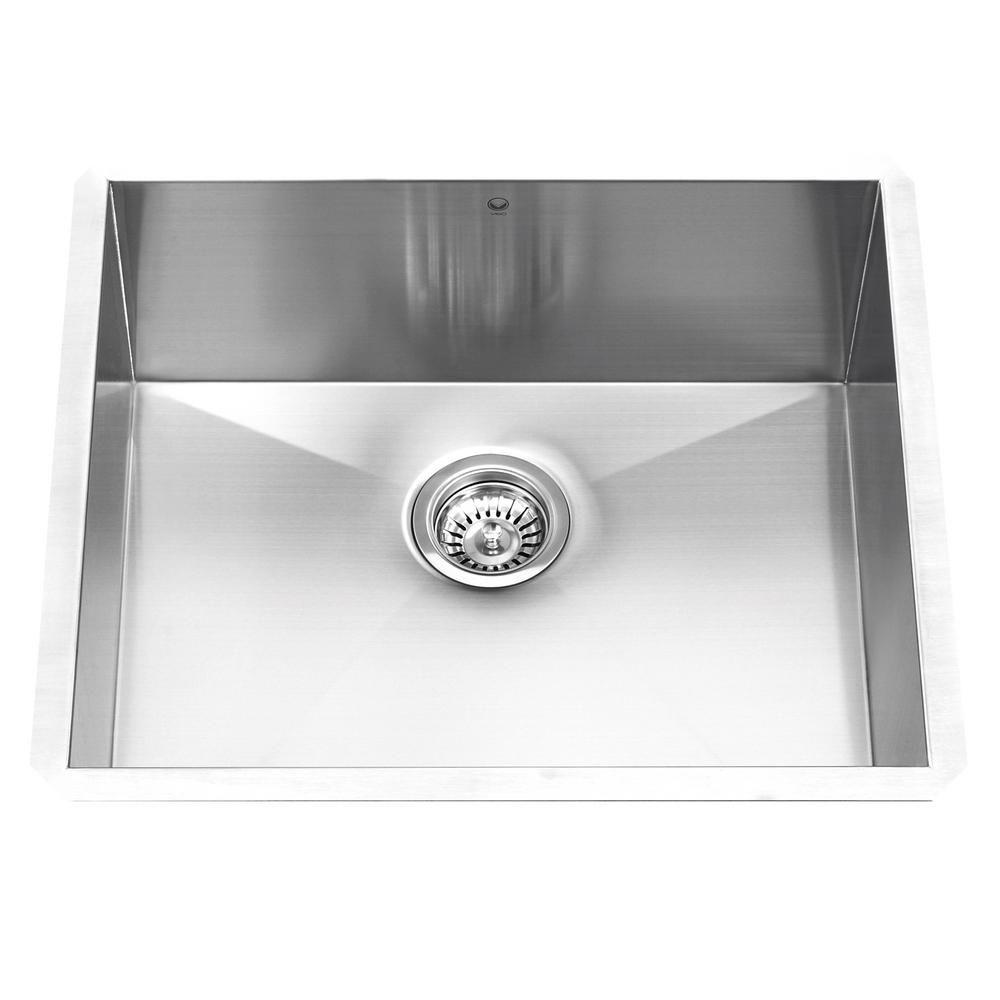 Stainless Steel Undermount Single Bowl Kitchen Sink Grid and Strainer 16 gauge 23 Inch