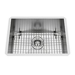 VIGO Ludlow Undermount Stainless Steel 23 inch Single Bowl Kitchen Bar Sink with 1 Grid, 1 Strainer in Stainless Steel