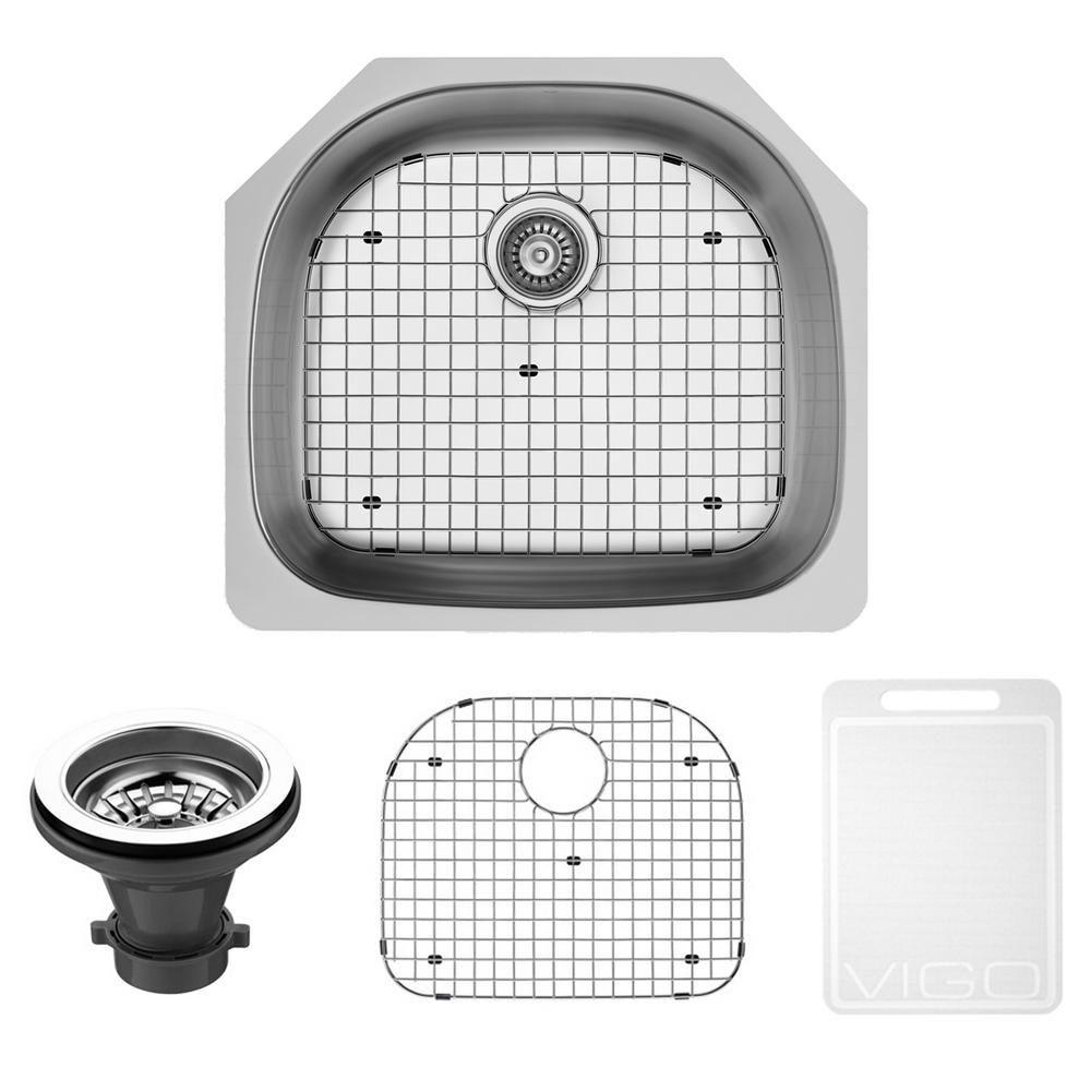 Stainless Steel Undermount Kitchen Sink Grid and Strainer 18 gauge 24 Inch VG2421K1 Canada Discount