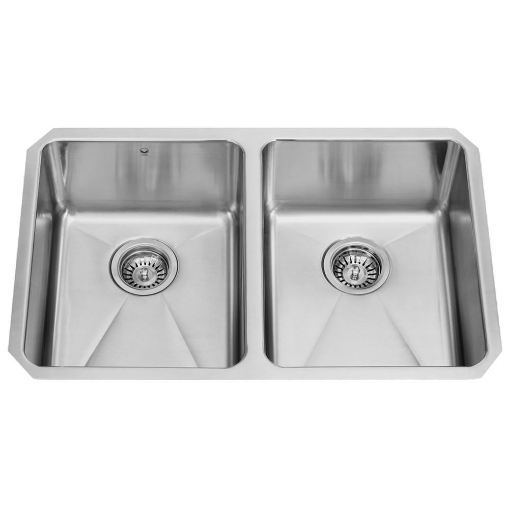 Stainless Steel Undermount 16 Gauge Double Bowl Kitchen Sink 16 gauge 29 Inch VG2918 Canada Discount
