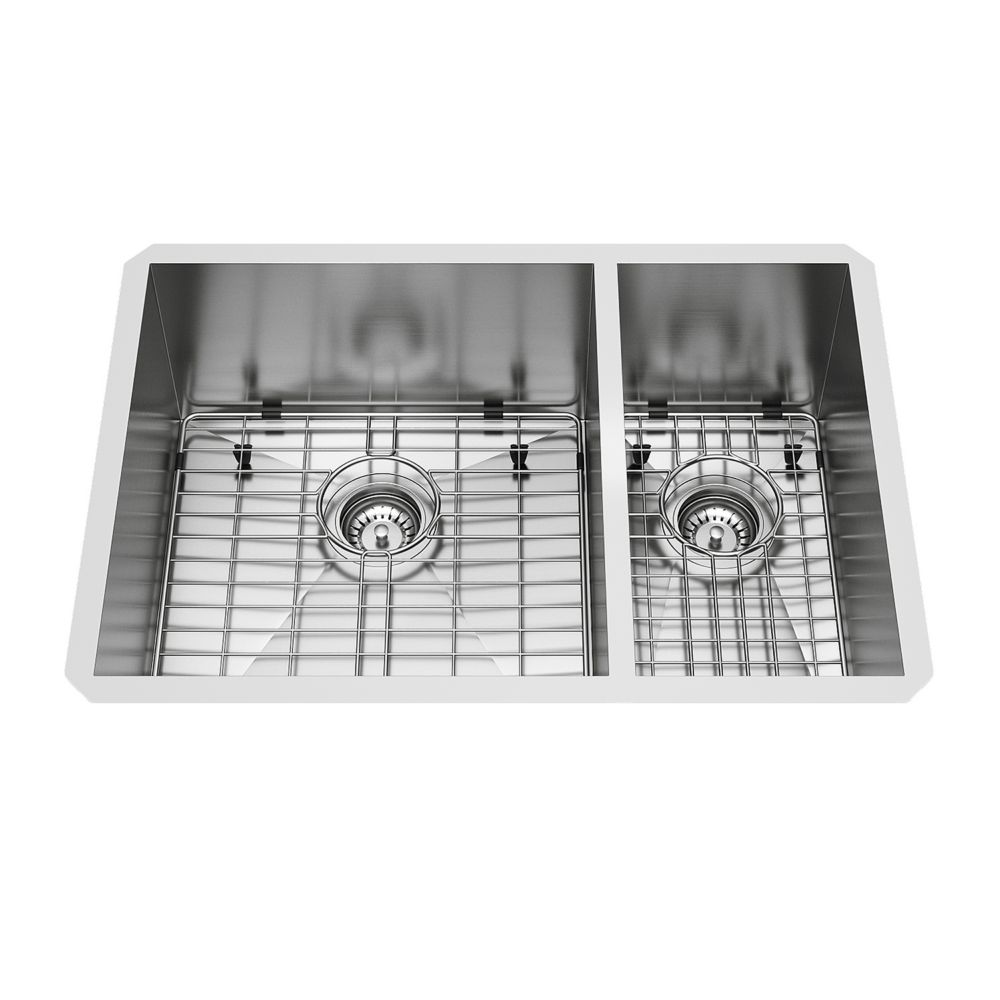 Stainless Steel Undermount Kitchen Sink Two Grids and Two Strainers 16 gauge 29 Inch