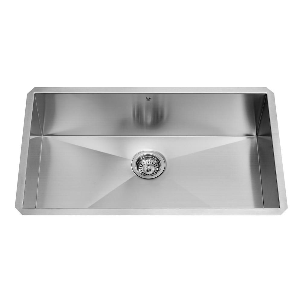 Stainless Steel Undermount 16 Gauge Single Bowl Kitchen Sink 16 gauge 30 Inch