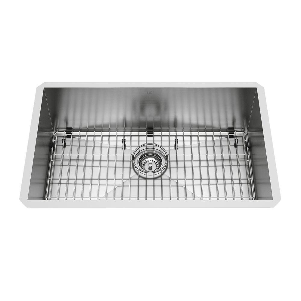 Stainless Steel Undermount Kitchen Sink Grid and Strainer 16 gauge 30 Inch