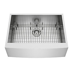 VIGO Camden Farmhouse Stainless Steel 30 inch 0-Hole Single Bowl Kitchen Sink with 1 Grid, 1 Strainer in Stainless Steel
