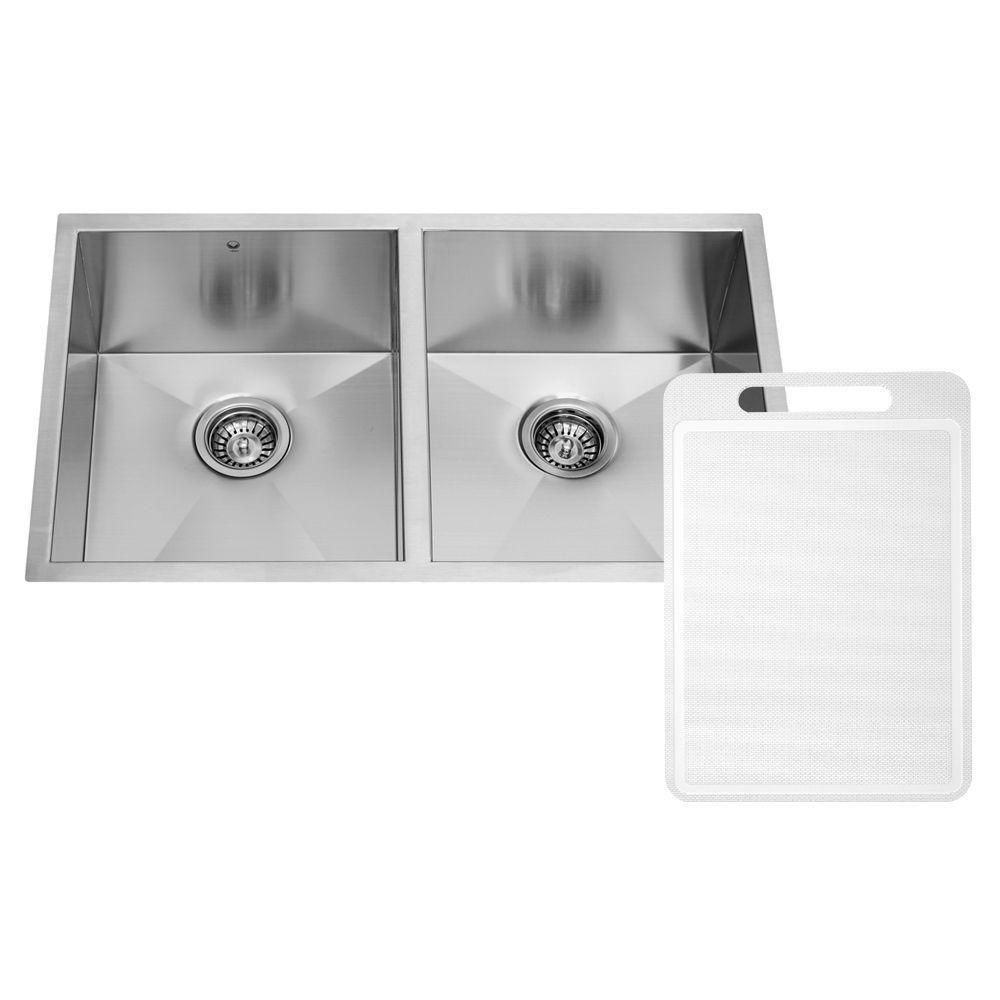 Stainless Steel Undermount 16 Gauge Double Bowl Kitchen Sink 16 gauge 32 Inch