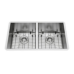 VIGO Suffolk Undermount Stainless Steel 32 inch 50/50 Double Bowl Kitchen Sink with Grids, Strainers in Stainless Steel