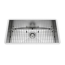 VIGO Évier de cuisine encastrable en acier inoxydable de 32 po Ludlow de  avec grille et crépine