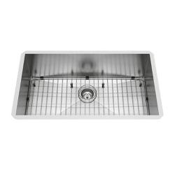 VIGO Undermount 32 inch Single Bowl Kitchen Sink with Grid and Strainer in Stainless Steel