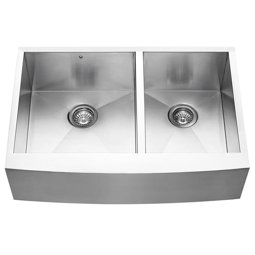 Stainless Steel Farmhouse 16 Gauge Double Bowl Kitchen Sink 16 gauge 33 Inch VG3320BL Canada Discount