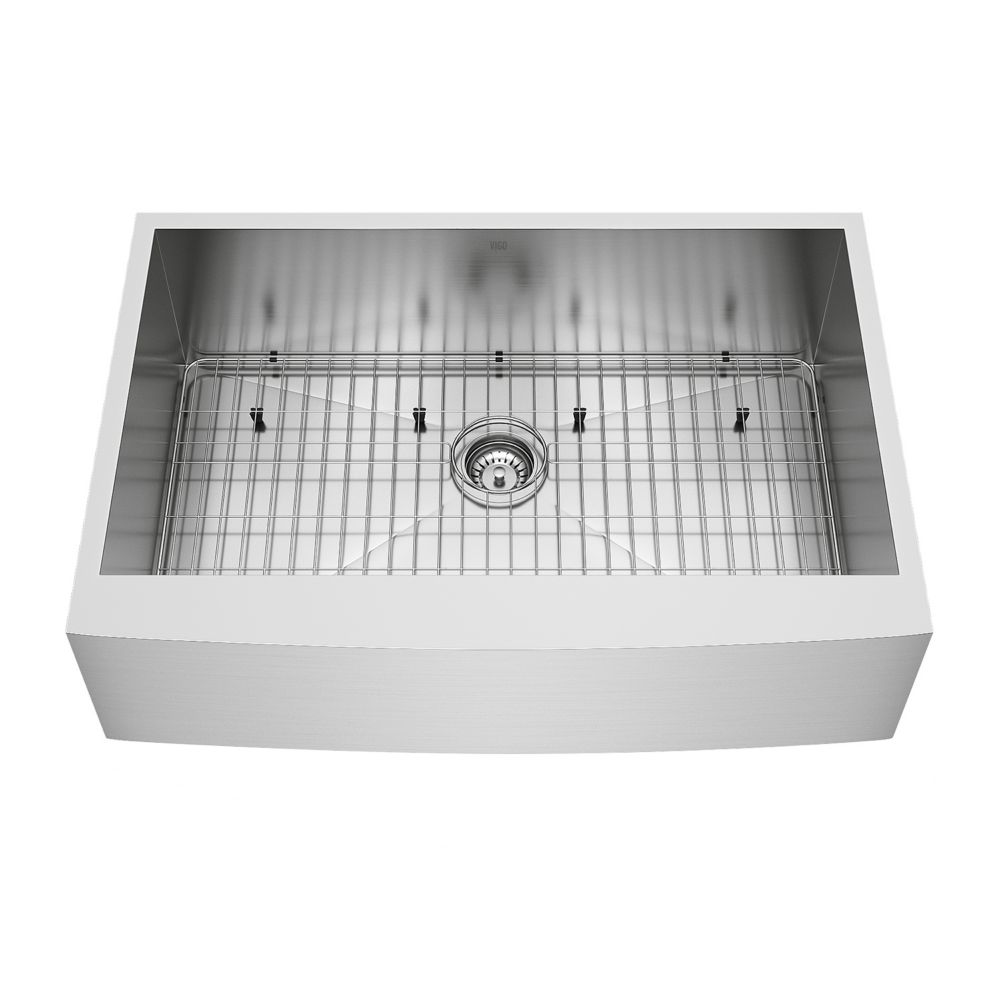 Stainless Steel Farmhouse Kitchen Sink Grid and Strainer 16 gauge 33 Inch