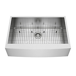 VIGO Camden Farmhouse Stainless Steel 33 inch 0-Hole Single Bowl Kitchen Sink with 1 Grid, 1 Strainer in Stainless Steel