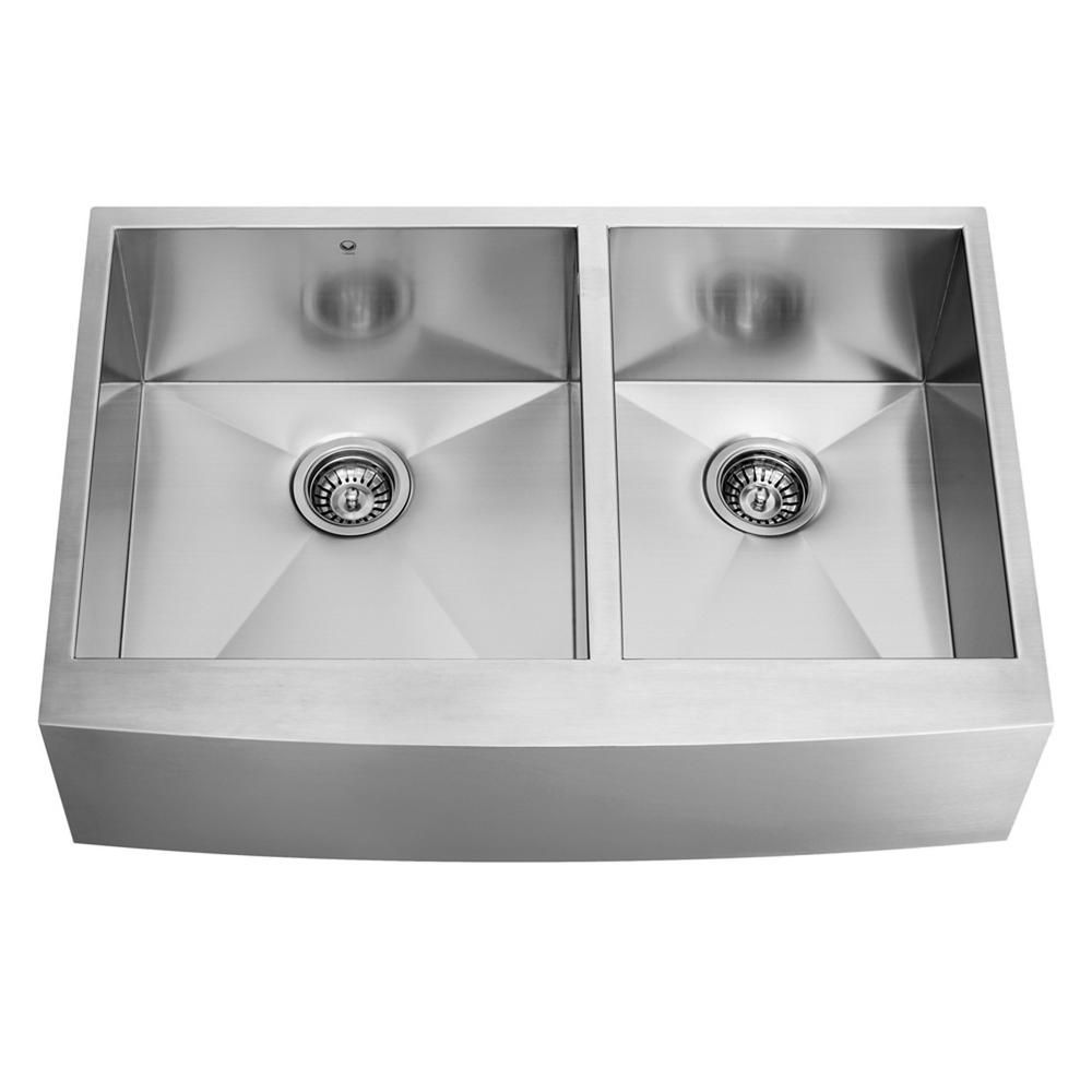 Stainless Steel Farmhouse 16 Gauge Double Bowl Kitchen Sink 16 gauge 36 Inch