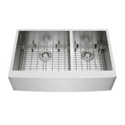 Vigo 36-inch 16 GA Stainless Steel Farmhouse Kitchen Sink with Two Grids and Two Strainers