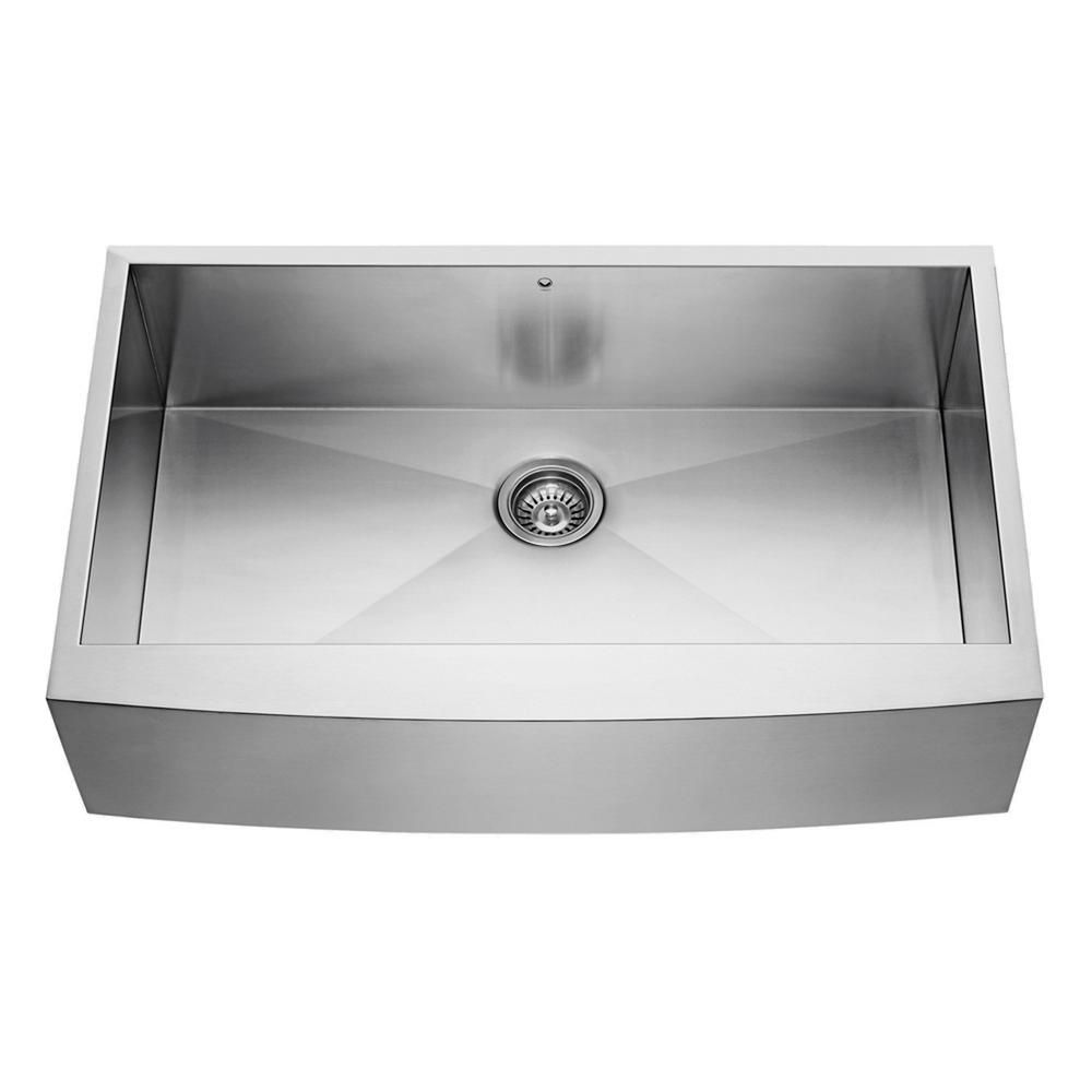 Vigo Stainless Steel Farmhouse 16 Gauge Single Bowl Kitchen Sink 16 gauge 36