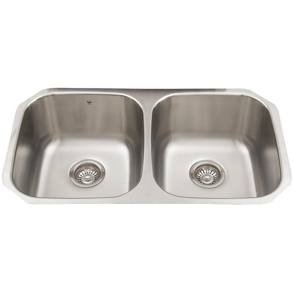 Stainless Steel Undermount Double Bowl Kitchen Sink 32 Inch 18 gauge