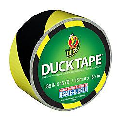 Duck Ruban adhésif à motifs imprimés de marque, bandes noires et jaunes, 4,77cmx9,15m