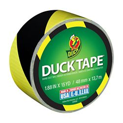 Duck Black & Yellow Stripes Printed Duct Tape, 1.88 inch x 15 yds.
