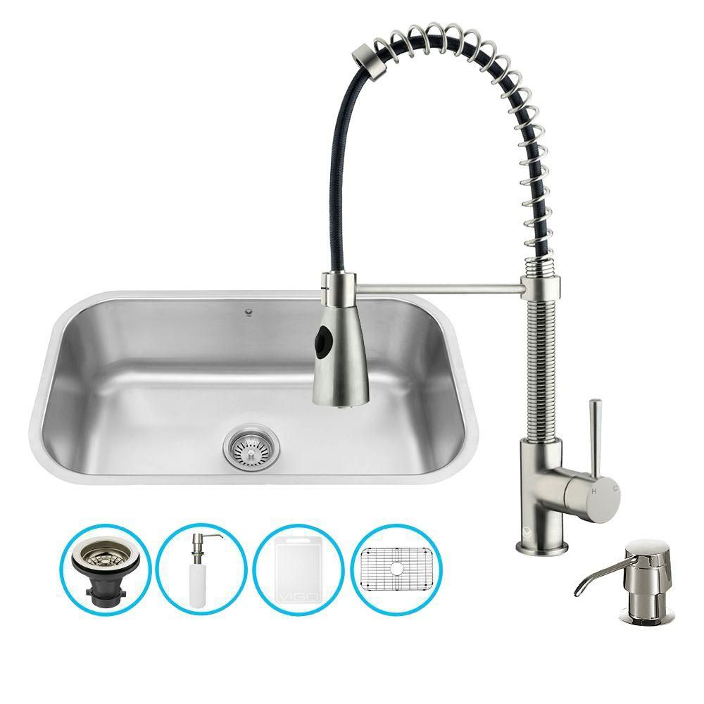 Stainless Steel All in One Undermount Kitchen Sink and Faucet Set 30 Inch VG15280 in Canada