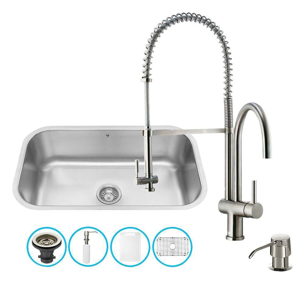 Stainless Steel All in One Undermount Kitchen Sink and Faucet Set 30 Inch VG15281 Canada Discount