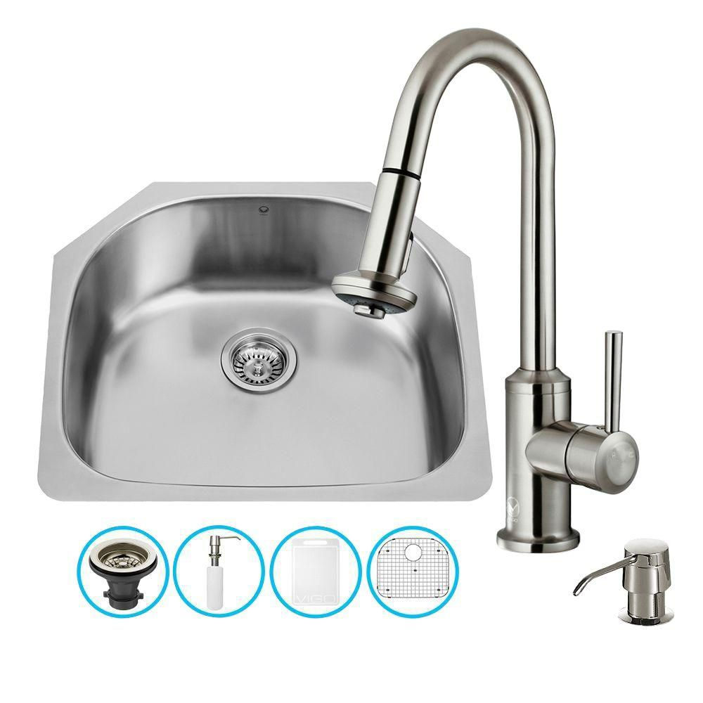 Stainless Steel All in One Undermount Kitchen Sink and Faucet Set 24 Inch VG15291 Canada Discount
