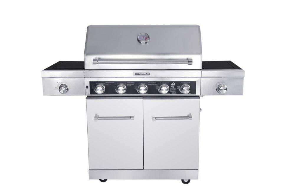 5-Burner Gas BBQ with Side Sear Burner and Side Burner