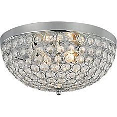 HDC Eliptic 13-inch Crystal Flushmount Ceiling Light Fixture in Polished Chrome