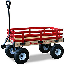 Kids' Heavy Duty Express 20-inch x 38-inch 500 lb. Capacity Wagon in Natural Wood and Red