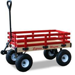 Millside Industries Kids' Heavy Duty Express 20-inch x 38-inch 500 lb. Capacity Wagon in Natural Wood and Red