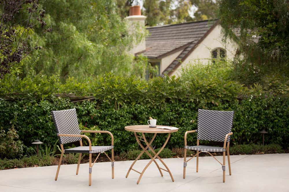 Broussard 3pc Transitional Steel Woven Bistro Set