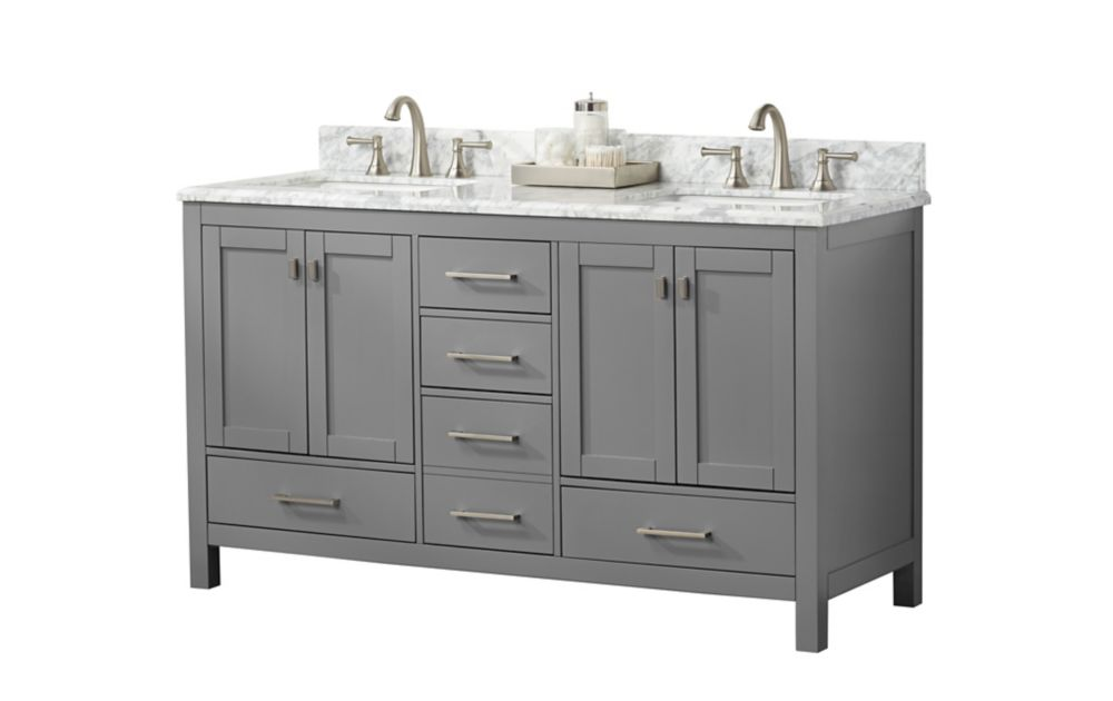 Home Decorators Collection 60 Inch Torino Vanity With 4 Doors And 5 Drawers The Home Depot Canada
