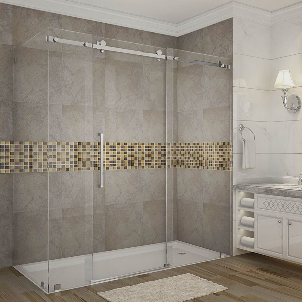 Aston Moselle 72-Inch  x 35-Inch  x 75-Inch  Frameless Shower Stall with Sliding Door in Stainless Steel