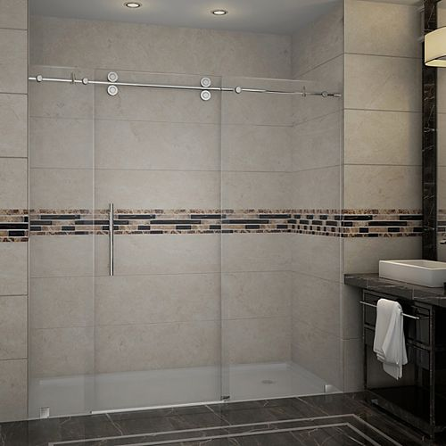 Aston Langham 72-inch x 75-inch Frameless Sliding Shower Door in Chrome