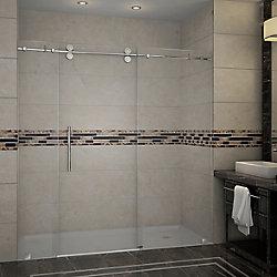 Aston Langham 72-inch x 75-inch Frameless Sliding Shower Door in Stainless Steel