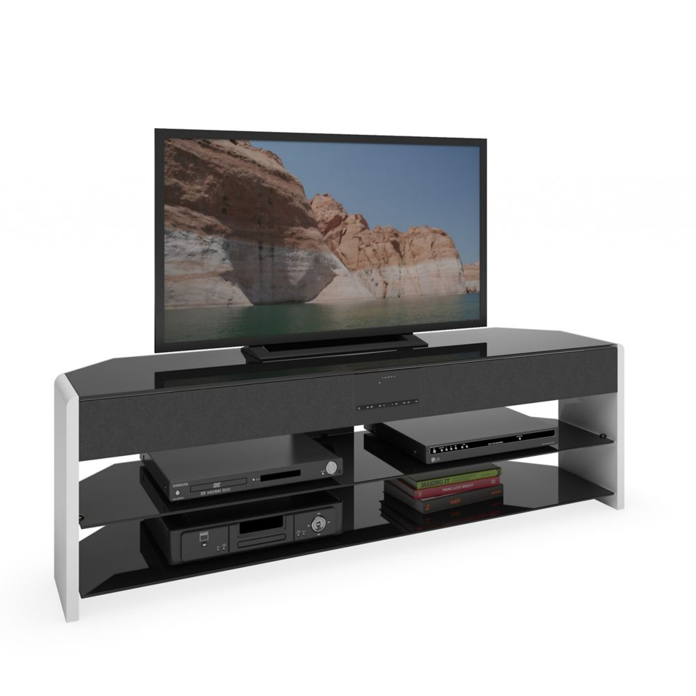 Santa Brio Glossy White TV Stand With Sound Bar For TVs Up To 70 Inch