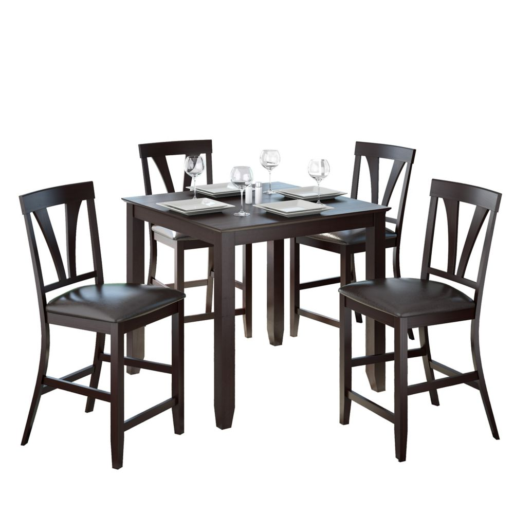 Bistro 5pc 36 Inch Tall Dark Cocoa Dining Set - Chocolate Black Leather DKR-409-Z1 Canada Discount