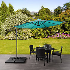 9.5 ft. UV Resistant Offset Turquoise Blue Patio Umbrella