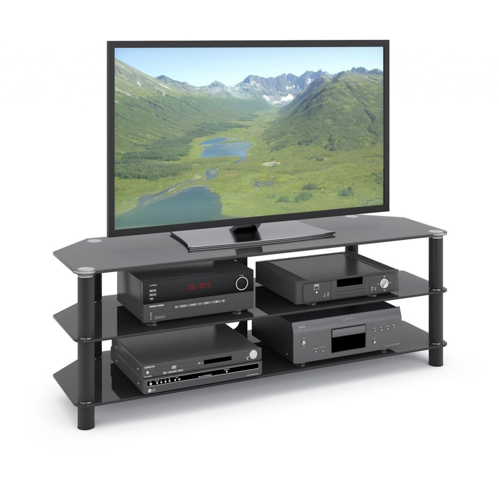 Trinidad Black Glass TV/Component Stand For TVs Up To 60 Inch