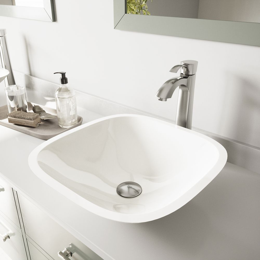 Square Stone Vessel Sink in White Phoenix with Otis Faucet in Brushed Nickel