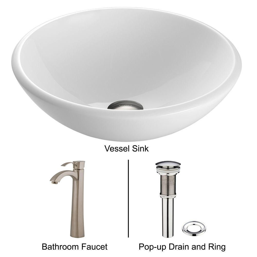 Stone Vessel Sink in White Phoenix with Otis Faucet in Brushed Nickel
