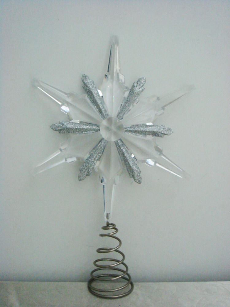 Clear Acrylic Snowflake Tree Topper - 13 Inch