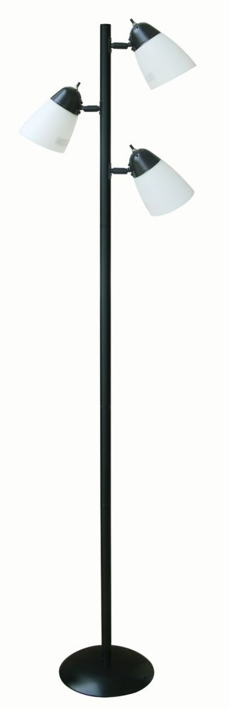 64 5 inch black track tree floor lamp with 3 plastic shades