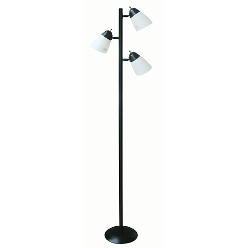 Hampton Bay 64.5-inch Black Track Tree Floor Lamp with 3 Plastic Shades