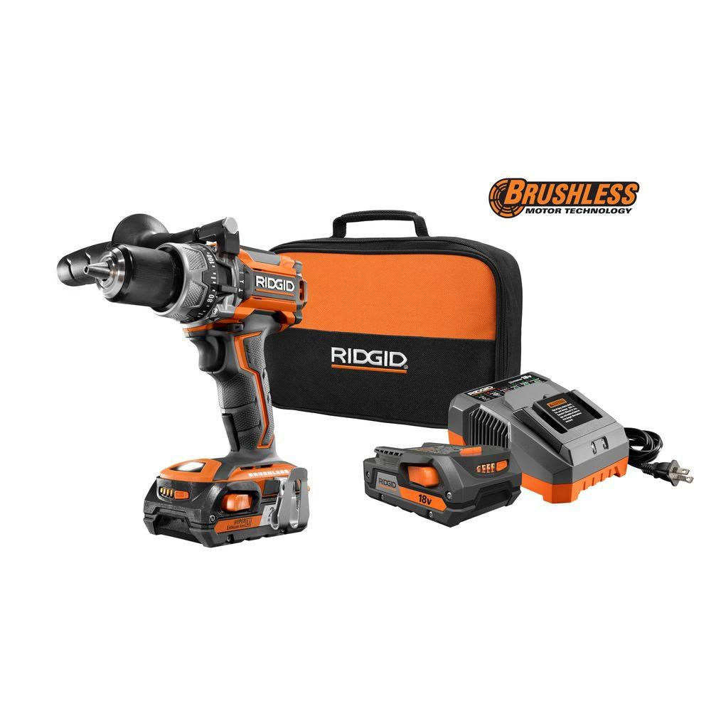 18-Volt Lithium-Ion 1/2 In. Cordless Brushless Compact Hammer Drill Kit