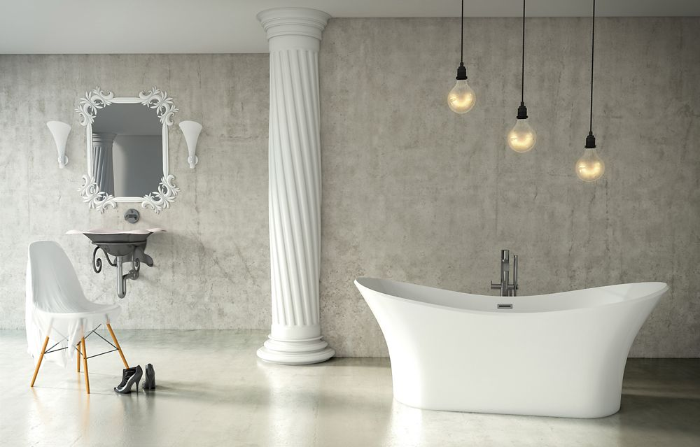 Andrina 5 Feet Freestanding Bathtub in White