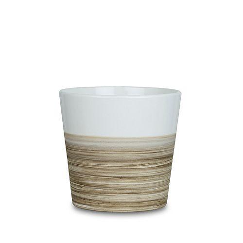 "Paddock Home & Garden 7,75"" pot évasé, style bambou, blanc mat"