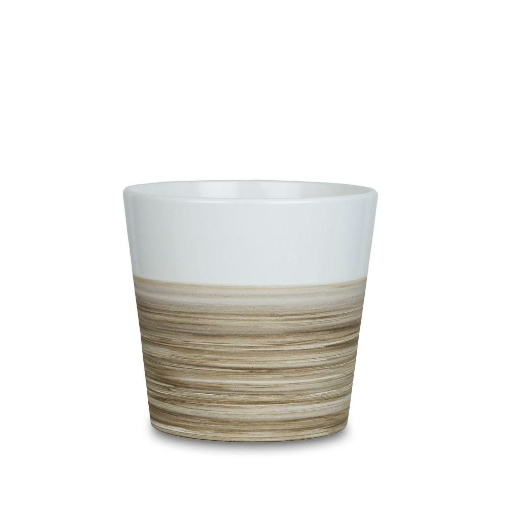 "5"" pot évasé, style bambou, blanc mat"
