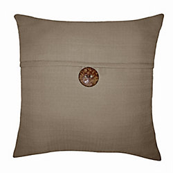 Hampton Bay 17 inch Pillow-Oasis Button Linen in Brown