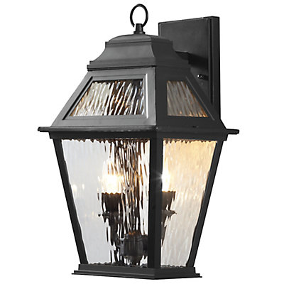Hampton Bay 2-Light Exterior LED Wall Lantern Black Matte Finish ...